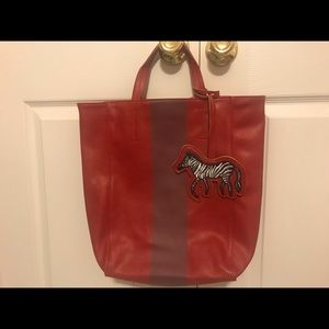 Saks Fifth Avenue Red With Burgundy Stripe…